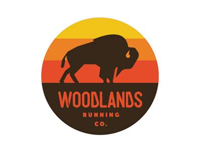 Woodlands Running Co. branding logo vintage retro buffalo mountains trails running group oregon pnw runners trail running
