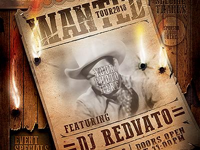 Vintage Wanted Poster western grunge golden gold flyer event distressed cowgirl cowboy copper bullet holes badge