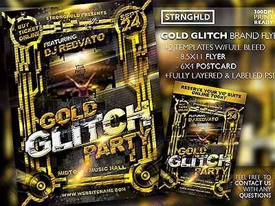 Gold Glitch Party Flyer Templates typography design gold retro template distressed grunge party event party