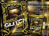 Gold Glitch Party Flyer Templates