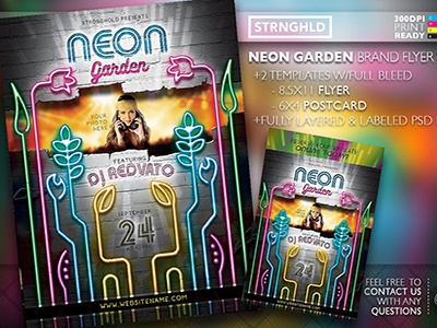 Neon Garden Flyer Template party neon colorful template design retro flyer grunge