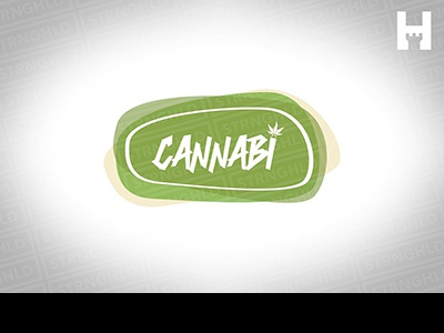 Cannabis Logo Template green hemp 420 weed brand template vector typography design logo
