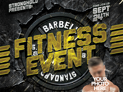 FITNESS EVENT FLYER TEMPLATE workout event fitness brand gold retro flyer template distressed grunge