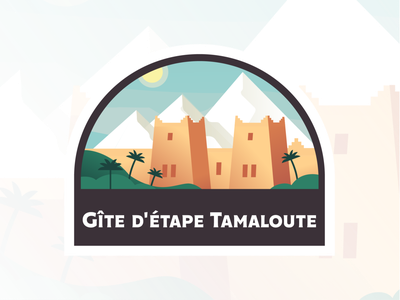 Gîte d'étape Tamaloute Rebrand Logo design branding logo vector palmtree illustration identity palms rebranding agency mountain sun sand gradient