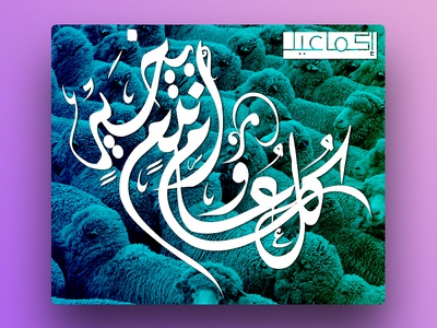Happy Aid calligraphy sheep cover colours gradient calligraphy ëid aid happy