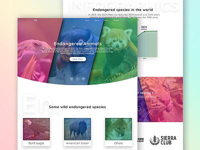 Endangered Animals Landing Page planet wild endangered ux ui website web animal landing app