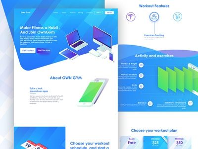 Own Gym - Landing Page workout gym website isometric webdesign uidesign uxdesign minimal page landing gradient colorful