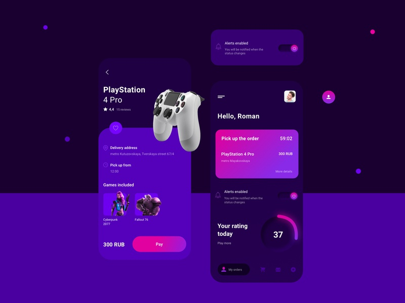 Rental consoles games playstation dashboard ui ux app design