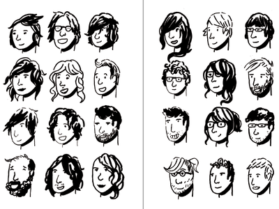 Faces spread - dialogue publication drawing caricature black and white design publication illustrator cartoon people