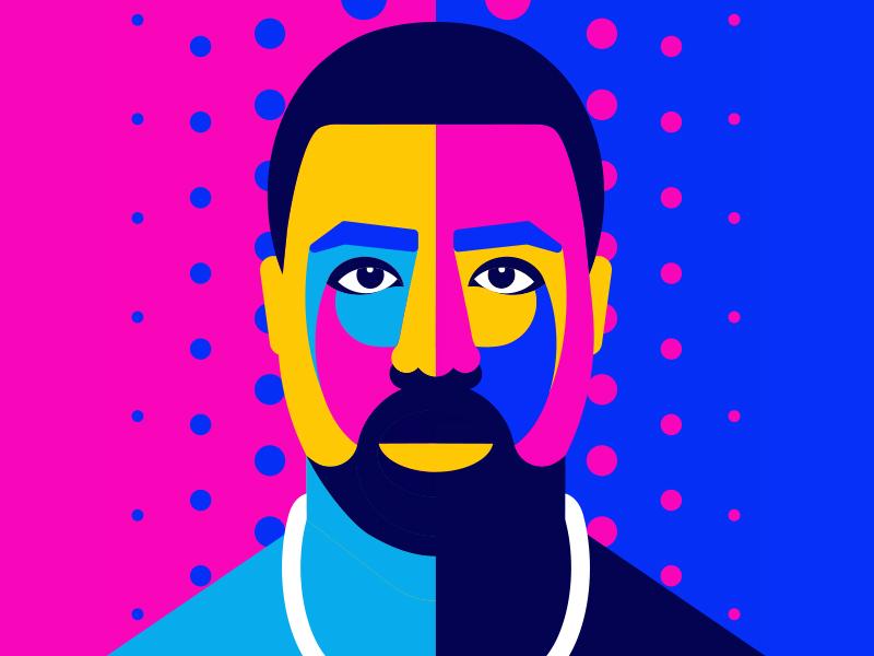 Kanye colorful art pop hiphop rapper colorfull vector illustration music