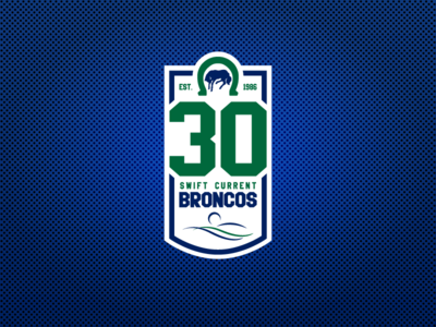 Swift Current Broncos 30th Anniversay Patch sports design sports logos ice hockey logo design broncos sports anniversary nhl hockey logo