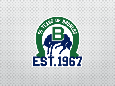 Swift Current Broncos 50th Anniversary Logo sports logo sports design logo design ice hockey anniversary sports nhl logo hockey broncos