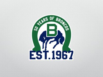 Swift Current Broncos 50th Anniversary Logo sports logo sports design logo design ice hockey anniversary sports nhl logo hockey broncos