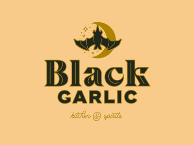Black Garlic Logo inline night ampersand wordmark brand identity customtype lettering script black garlic stars moon bat logos