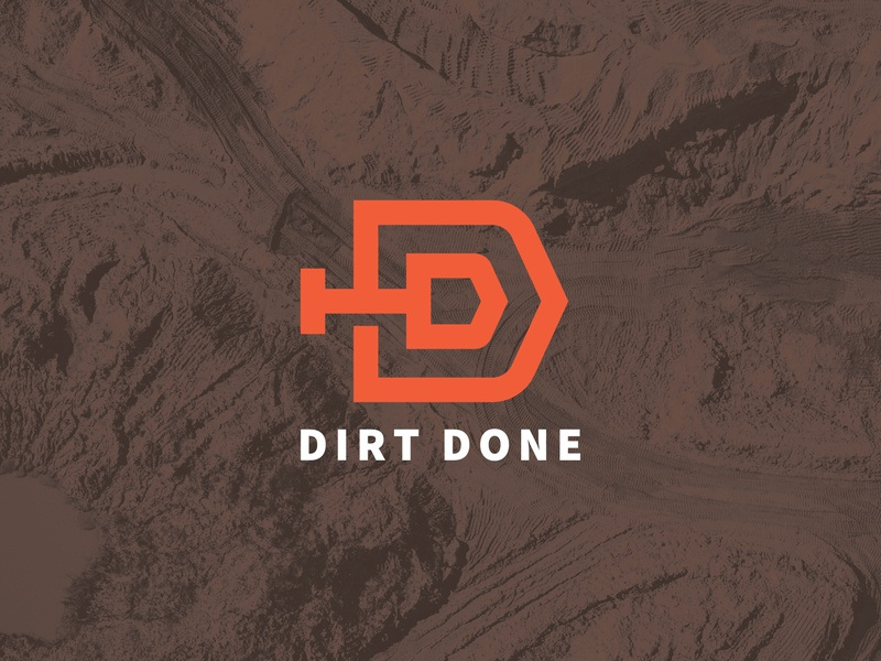 Dirt Done Logo construction lockup badge flatdesign monoline single line logistics done double d symbol icon shovel