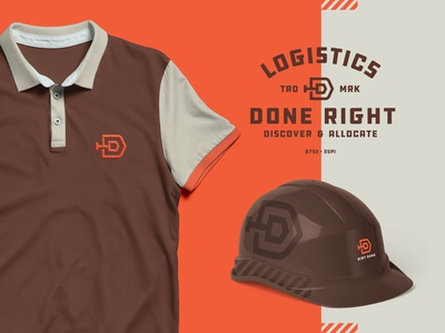 Dirt Done Logo construction double d done dirt symbol icon flatdesign trd discover mockup lockup trademark badge logistics hard hat polo shirt