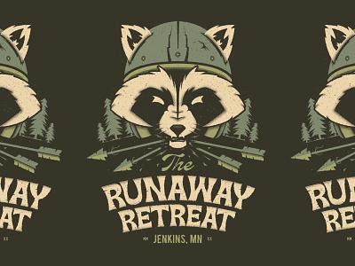 Runaway Retreat camping motorcyle pine trees texture trash panda minnesota lockup script typogaphy arrow moto woods helmet raccoon illustraion poster