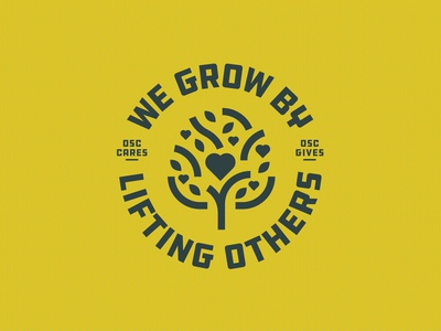 OSC Wall Mural stamp badge crest lineart leaf circle logo lockup others heart volunteering caring icon grow tree