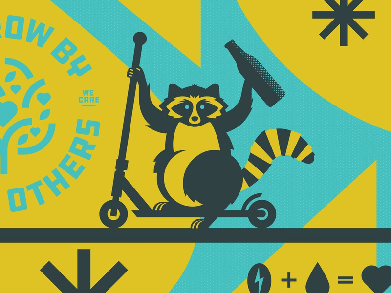 OSC Wall Mural trash panda love cute animal art silly heart coffee scooter bottle beer logo lineart illustraion raccoon