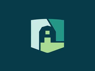 Trilogy Ag Group branding crops identity grow icon crest shield door organic symbol logo trilogy barn farm farming