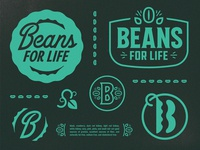 Beans for Life vegetable legume plant lockup badge symbol icon farming agriculture life identity design lineart vine leaf pod beans logo