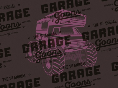 Motor Monster lockup annual illustration rain or shine symbol wild drunk event goon icon garage redneck mobile home rv monster truck