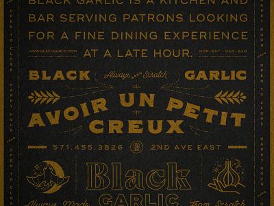 Black Garlic Type symbol icon blackletter scratch gold texture leaf french garlic black bat typogaphy lockup