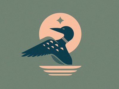 Loon sunset outdoors classic vintage illustration bird logo north reflection star lake water minnesota midwest loon