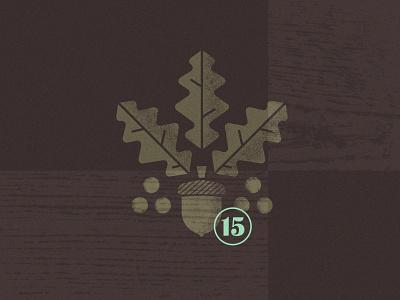 Room # Explore illustration icon badge texture wood numerals twig acorn leaf oak tree