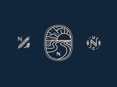 Up North Icons pine clouds symbol crest badge sunset sunrise cardinal bird icon iconset tree spruce landscape river
