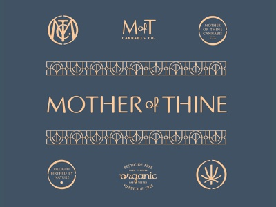 Mother of Thine Identity Kit weed stamp pattern organic script identity monogram cannabis branding flower typography icons symbols stencil packaging logos