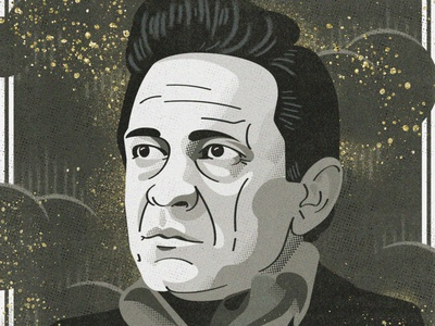 Out among the stars cash johnny cash portrait illustration texture stars gold character design painting digital celebrity country music nashville album tennessee