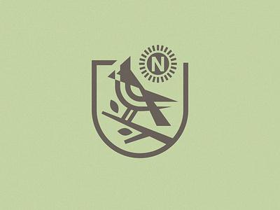 Up North Cabins Icon icon mark nature midwest lockup dakota bird branch tree idenity north symbol logo badge sun cardinal