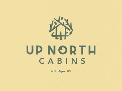 Up North Cabins Logo camping cabin logo icon symbol branches north dakota lockup identity midwest nest home tree mark