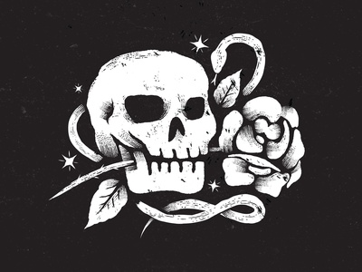 Amorette texture sketch stars snake halloween tattoo rose illustration skull
