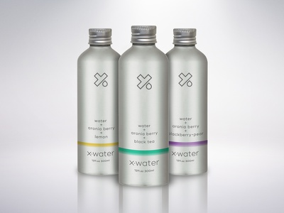 X-Water Aluminum branding packaging packagedesign can aluminum droplet water x type logo antioxidant health fitness