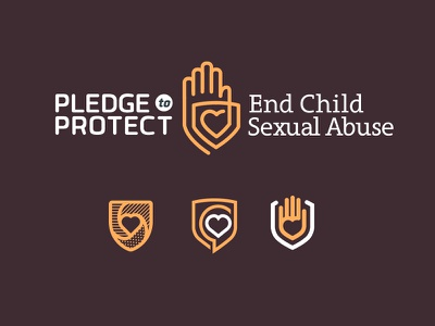 Pledge To Protect badge mother symbol icon child abuse hand pledge gaurd love heart protect shield logo