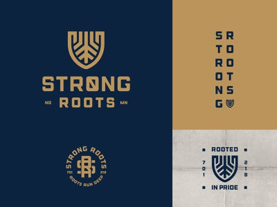Strong Roots badge norse crossfit gym strong roots crest shield icon branding logo