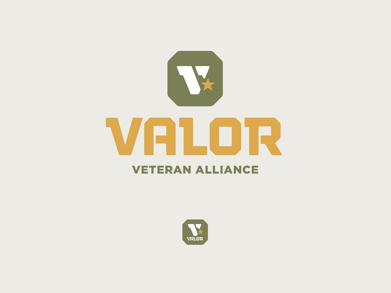 Valor Logo octagon lockup branding honor shield star military tough valor v veteran army badge icon logo