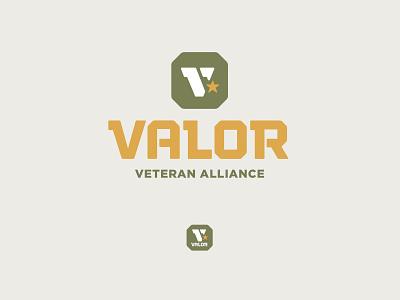 Valor Logo octagon lockup branding honor shield star military tough valor v veteran army badge icon logo