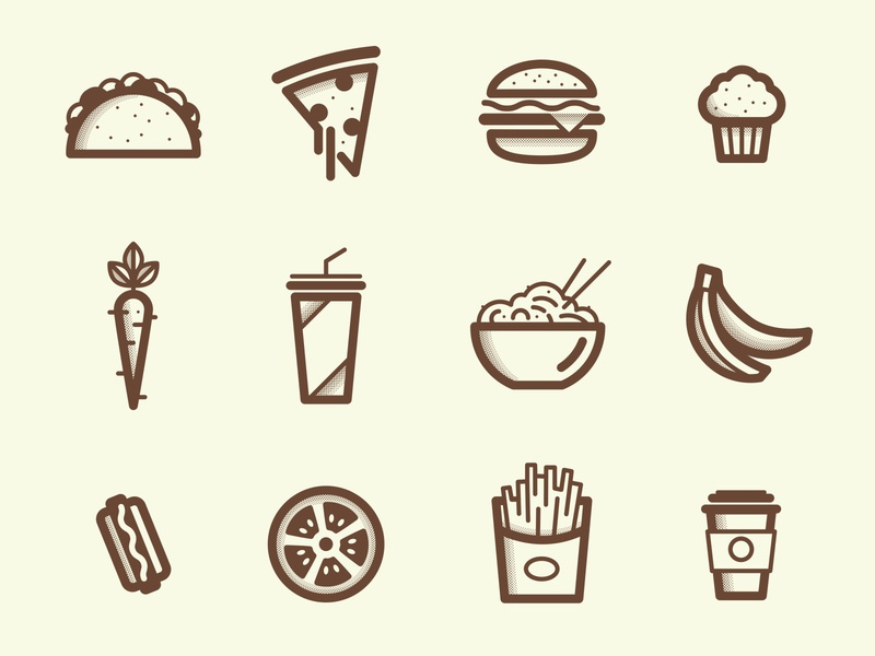 Dining Icons cheeseburger soda junk food tomatoe french fries softdrink hamburger halftone lineart menu food icons set pizza carrot coffee hotdog ramen taco banana muffin
