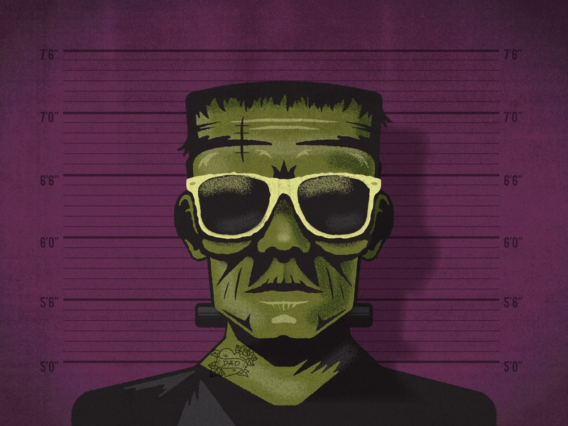 Hip Frank monster tattoo texture illustraion sunglasses frankenstein dribbleweeklywarmup halloween criminal