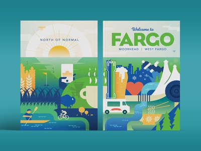 Visitor Guide Cover Final illustration cellphone snowflakes sunset river ramen kayak golf food truck fargo coffee bratwurst wheat bicycling beer