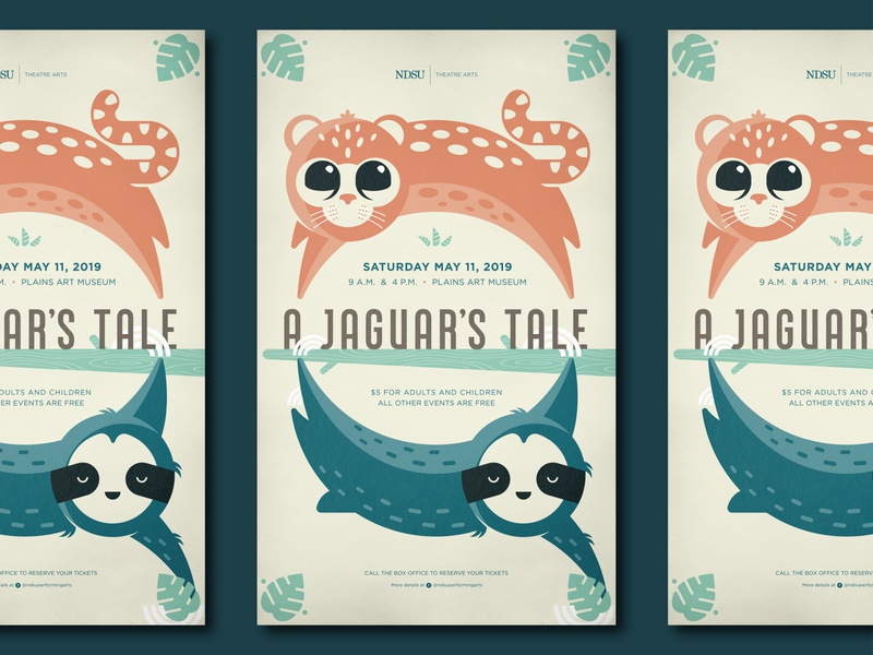 A Jaguar's Tale theatre hanging jumping circle geometic cat leaf animals jaguar childrens illustration sloth poster