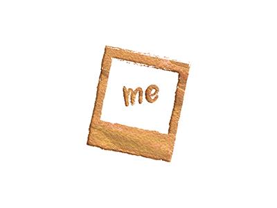 """About Me"" Icon me pic photo photograph pen texture ink gold icon polaroid"