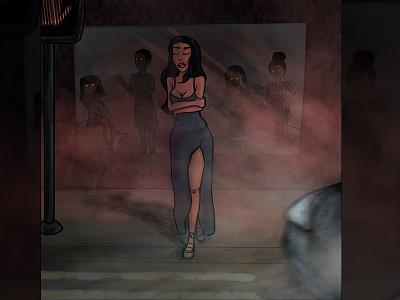 Demons midnight night black woman horror illustration crossing street car red eyes demon