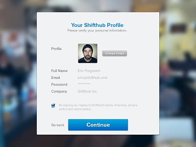 Signup confirmation signup form ux design flow ui blue white sign up user create confirmation