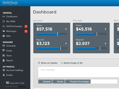 Dashboard Manager dashboard scheduling interface ui design widget sales payroll employee manager web application