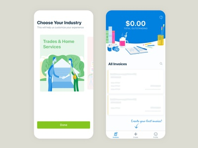 Invoice Creator - Onboarding app store dashboard empty state illustration onboarding small business invoice mobile app ios
