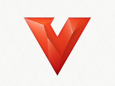 Abandoned concept vivaldi v red type logo geometric glossy sharp